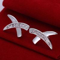 925 silver earrings 925 sterling silver fashion jewelry earrings beautiful earrings high quality Inlaid X Earrings