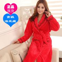 Sexy winter thickening flange mink goatswool women's robe red bathrobes long design sleepwear home