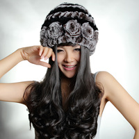 2013 rex rabbit hair genuine leather fur handmade flower stripe winter warm hat