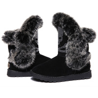 2013 new European and American winter boots flat skull rhinestone hot pressure imitation rabbit fur boots snow boots women