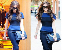 Promotion Free shipping Spring/summer new fashion victoria beckham same high quality Classic Stripe Knitted slim one-piece dress