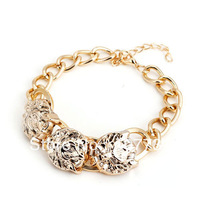Free Shipping!Fashion Cheap Wholesale Gold CCB Lion Head Chunky Charm Chain Bracelets & Bangles For Women Fashion Jewelry