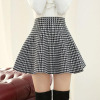 Black and white houndstooth autumn and winter female pleated skirt bust skirt slim high waist plus size woolen short skirt