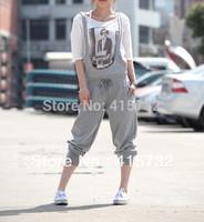 Free Shipping 2014 New 100% Cotton Bib Pants Jumpsuit Harem Pants Plus Size XXXXXL 6XL Customized Rompers For Women Black Grey