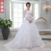 2013 slit neckline long-sleeve slim brief bridal train wedding dress formal dress