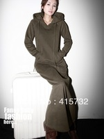 Free Shipping 2014 New Fashion Long-sleeve Dresses With A Hood One-piece Plus Size Customized Long Maxi XXXXXL 6XL Stretch Coat