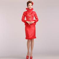 2013 the bride married cheongsam red evening dress short design winter cotton-padded long-sleeve thick vintage cheongsam