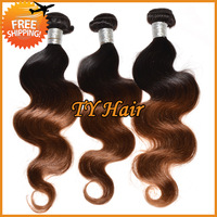 Cheap Ombre Virgin Brazilian Hair Weave Body Wave 3pcs Lot 100% Human Hair Extensions Queen Hair Products 2 Two Tone Color 1b/30