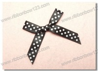 Black ribbon white dot Bows for Carrier paper handbag bows