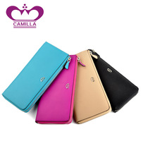 Genuine leather day clutch female fashion small bag cowhide clutch bag candy color all-match long design wallet