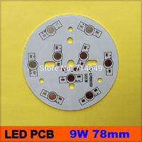 10pcs/lot, 9W LED PCB, 62mm for 9pcs LEDs, aluminum plate base, Aluminum PCB, Printed Circuit Boards, high power 9W LED DIY PCB
