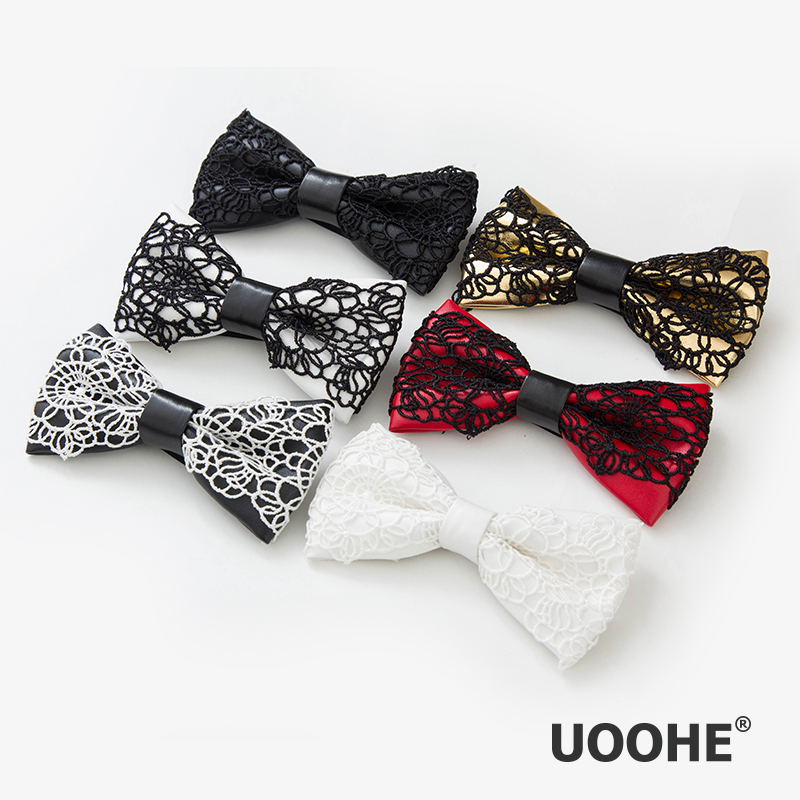 New 2014 fashion vintage lace crochet leather bow ties for kid and woman marriage bow tie for men commercial man brand bowtie(China (Mainland))