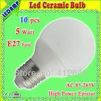 White Ceramic 5w E27 led bulb lamp ultra bright warm white / cold white 500lm Iluminacao Led AC 85-265V for home use