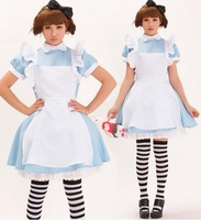 Women Fashion Cute Elegant 3 pcs Set Costumes COS Lolita Maid Apron Dress Light Blue