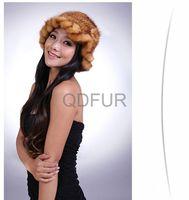 Genuine Mink  Fur Winter Warm Lady  Fashion Cap in Stock  QD29546  Hot Sell