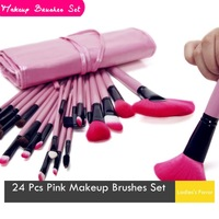 24 Pcs Pink Professional Makeup Brushes Set Quick-Drying Boudoir Essential Makeup Tools For Women Sweet Style  Eye Shadow
