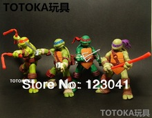 Free shipping High quality 4 pieces/lot Teenage Mutant Ninja Turtles Action Figure 4 hand-done tmnt Toy Model for the boys Gift(China (Mainland))