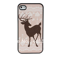 Deer Pattern Dull Polish Hard Case Cover for iPhone 4 4S (Multi-Color)