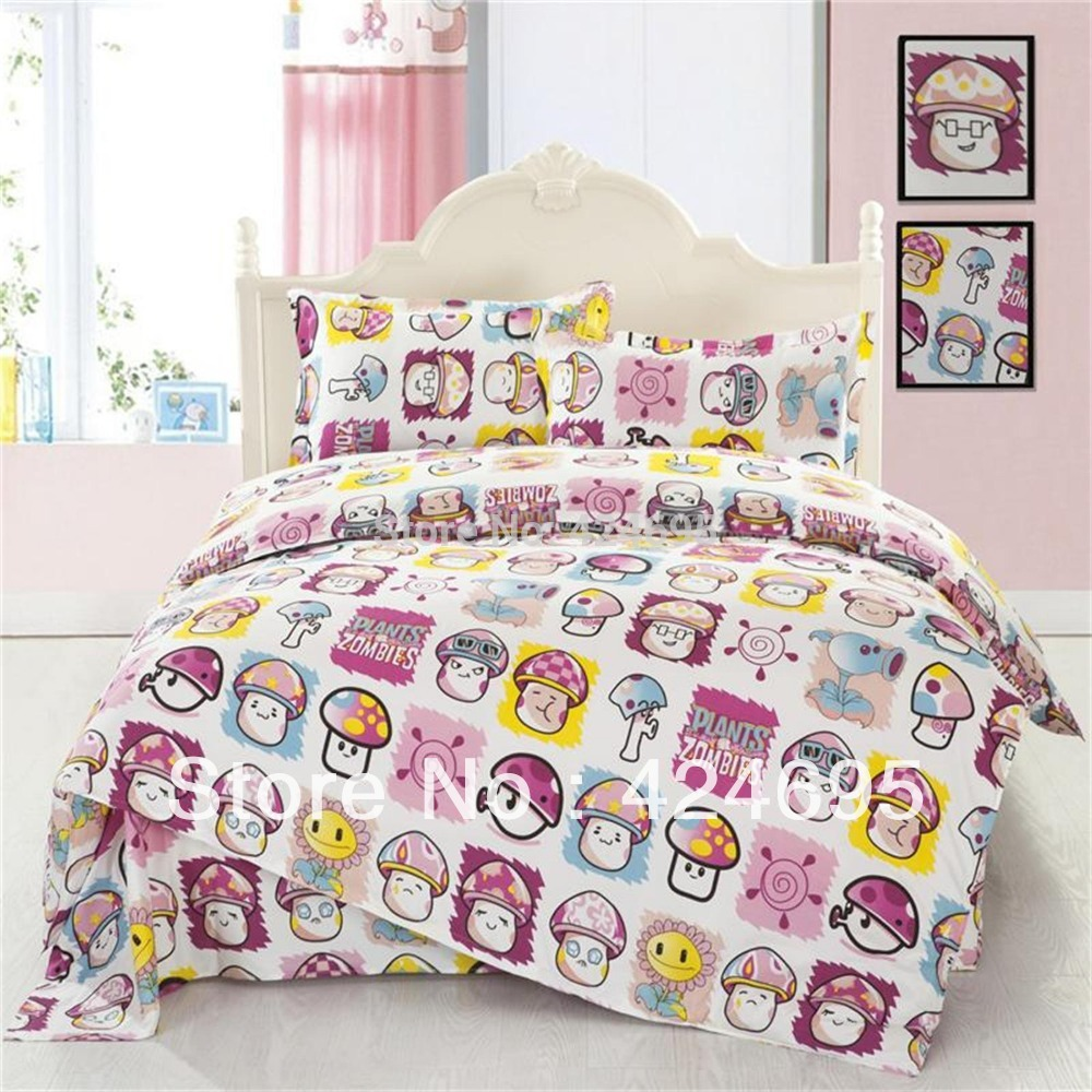 Plant VS Zombie pattern King size bedding sets luxury include Duvet