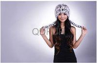 Genuine Rex Rabbit  Fur Winter Warm Elegant Lady  Fashion  Decorated Knit Cap in Stock  QD29564