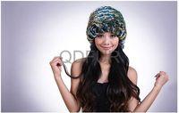 Real Genuine Rex Rabbit  Fur Winter Warm Elegant Lady  Fashion  Color Mixed  Knit Cap in Stock  QD29566