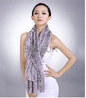 Real Genuine Rex Rabbit  Fur Winter Warm Elegant Lady  Fashion Knitted Scarf  With Tassels QD29544