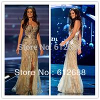 2014 Vestido Miss Universo Brazil Gabriela Markus Summer Pageant Gold Side Split Crystal Beading Lace Tulle Evening Dresses
