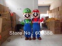 2 pcs New super mario and Luigi costume adult plush mascot costume cartoon character costumes  christmas party