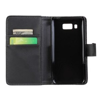 2014 New Black Luxury Leather Flip Case Skin Wallet Pouch Stand Cover for Huawei Ascend W2 Credit Card Holder