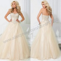 The Ball Gown Sweetheart Tulle Chamapgne Evening Dress 2014 With Rainstones Crystals Free Shipping