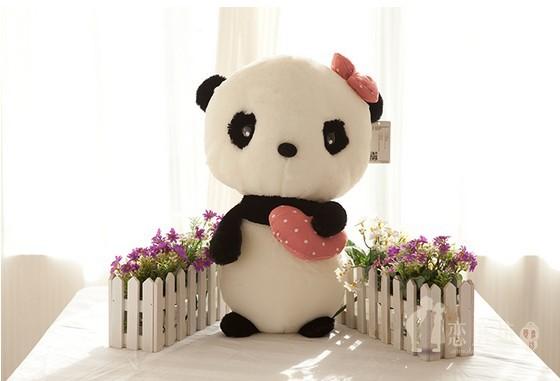 65cm-1pcs Panda plush toy doll cute doll girl standing panda birthday gift wedding gift giant panda stuffed animal free shipping(China (Mainland))