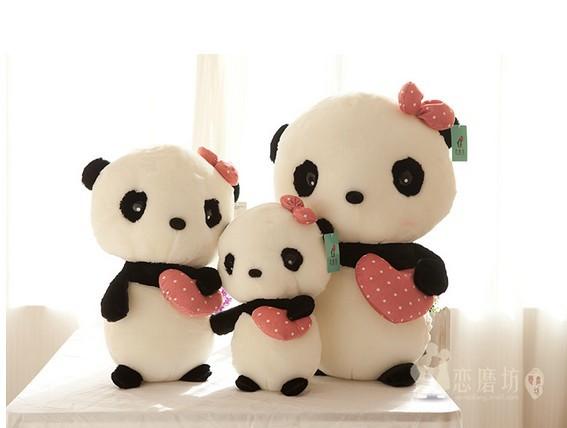 40cm-1pcs Panda plush toy doll cute doll girl standing panda birthday gift wedding gift giant panda stuffed animal free shipping(China (Mainland))