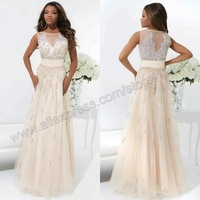 Tony Bowls 114726 High Neck Sleeveless Organza A-line Champagne Colored Evening Gowns 2014 New