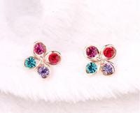 Min. order is $10(mix) new brand imitate diamond windmill earrings fashion 2014 jewelry wholesale rhinestone earring for women