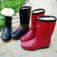 Fashion cotton winter female boots rainboots snow boots shoes leather plus velvet thermal slip-resistant waterproof