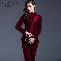 2013 winter women's fashion vintage tang suit velvet slim short jacket plus size