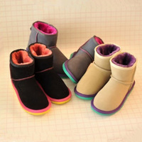 2014 Snow  and wool fur boots in one  waterproof snow cotton medium-leg boots shoes