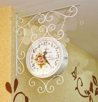 Fashion iron clock double faced clock rustic silent pocket watch Large
