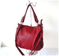 A99( red)2014 Hot Sale popular women bags,40x27cm,advanced PU,5 different colors,shoulder straps,two function,Free shipping!