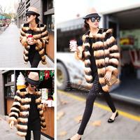 2014 Winter Hot-Selling Long Striped Faux Fur Coat Luxury Fox Fur Coats Women Designer Fashion Elegant Fur Overcoat Dropshiping