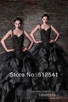 2014 Fashionable Black Wedding Dresses Sheer A Line Spaghetti Straps Applique Ruffle Lace Bridal yk8R160