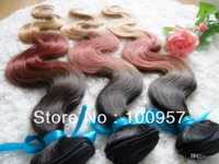 Christmas Present 6A Cheap Hair 100% Indian hair Ombre Hair Weft #1B#33#27 12''-30'' 3pcs/lot  Body  Wave Hair Extensions