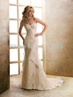 Free Shipping 2014  New Arrival Custom-made  RLF-9 High Quality Tulle A-Line  Appliques   Wedding Dress