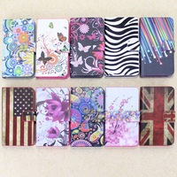 Free Shipping Colorful Flower Butterfly Wallet Stand Card Hold Phone For iPhone 4 4S Flip Leather Case Cover