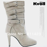 2013  high heels platform leather buckle on wristband female medium-leg boots