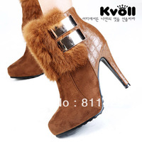 2013  velvet claybank metal buckle rabbit fur patchwork stone pattern short-leg platform high-heeled boots