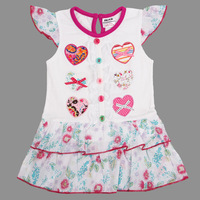 Free shipping 5pcs/lot NEW arrival white short sleeve applique hearts dress with two layers flowers hem