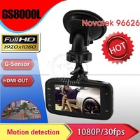 "2013 new Original GS8000L NOVATEK chipset full HD Car video camera recorder DVR 2.7"" LCD 120 degree wide angle lens G-sensor"