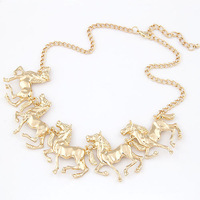Wholesale Jewelry New Arrival Stylish Metal Horses Choker Necklace Fashion Women Accessories