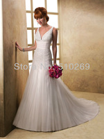 Free Shipping 2014  New Arrival Custom-made  RLF-13 High Quality Tulle A-Line Beading    Wedding Dress
